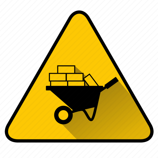 bricks, build, construct, construction, sign, wheelbarrow icon