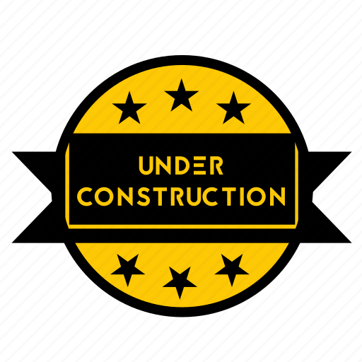 badge, build, maintenance, sign, stars, sticker, under construction icon