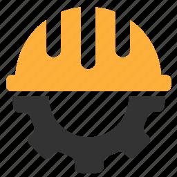 gear, hardhat, helmet, settings icon