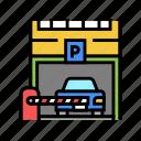 barrier, parking, equipment, multilevel, building