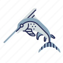 fish, food, food icon, raw food, seafood, swordfish, underwater icon