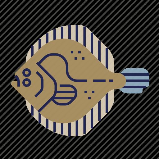 fish, food, food icon, raw food, seafood, turbot, underwater icon