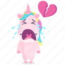 broken, emoji, emoticon, heart, smiley, sticker, unicorn icon
