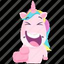 emoji, emoticon, unicorn, smiley, sticker, laugh, 🦄 icon