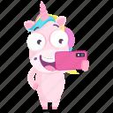 emoji, emoticon, selfie, unicorn, smiley, sticker, 🦄 icon