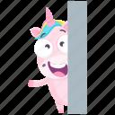 emoji, emoticon, unicorn, smiley, sticker, wave, 🦄 icon