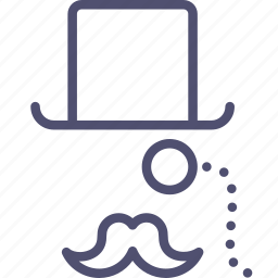 clothes, clothing, fashion, hat, hipster, monocle, moustache, top, tophat, wear icon