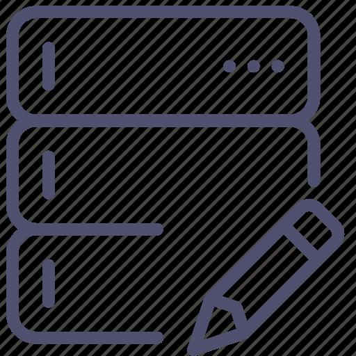 backup, base, data, database, edit, rack, server icon