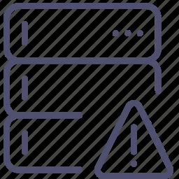 alert, backup, base, data, database, rack, server, warning icon