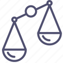 compare, disbalance, justice, law, scales, trade icon