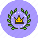 achievement, award, badge, crown, king, leader, royal, wreath icon