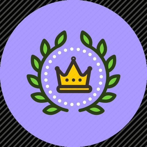 achievement, award, badge, crown, king, leader, royal, wreath icon