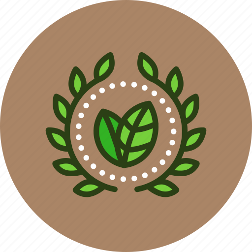 achievement, award, badge, bio, eco, green, nature, wreath icon