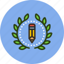 achievement, award, badge, creative, design, draw, wreath, write icon