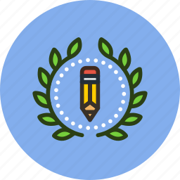 achievement, award, badge, creative, design, draw, wreath, write icon