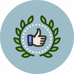 achievement, award, badge, finished, like, rating, thumbs up, wreath icon