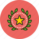 achievement, award, badge, favorite, rating, star, top, wreath icon