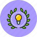 achievement, award, badge, creative, electric, idea, mind, wreath icon