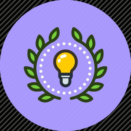 achievement, award, badge, creative, electric, idea, mind, wreath icon