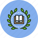 achievement, award, badge, book, education, knowledge, wreath icon
