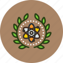 achievement, atom, atomic, award, badge, physics, science, wreath icon