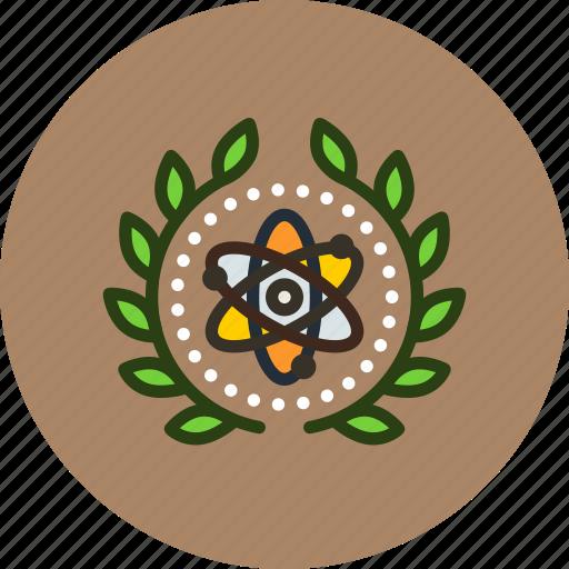 achievement, atom, atomic, award, badge, physics, science, wreath icon