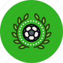 achievement, award, badge, ball, football, sport, wreath icon