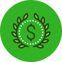 achievement, award, badge, budget, income, money, wealth, wreath icon