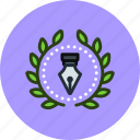 achievement, award, badge, creative, design, designer, illustration, wreath icon