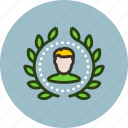 account, achievement, award, badge, top, user, winner, wreath icon