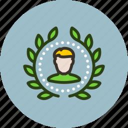 account, achievement, award, badge, top, user, winner, wreath icon
