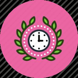 achievement, award, badge, clock, deadline, time, wreath icon