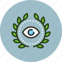 achievement, award, badge, eye, private, spy, wreath icon