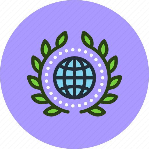 achievement, award, badge, earth, globalization, globe, web, wreath icon