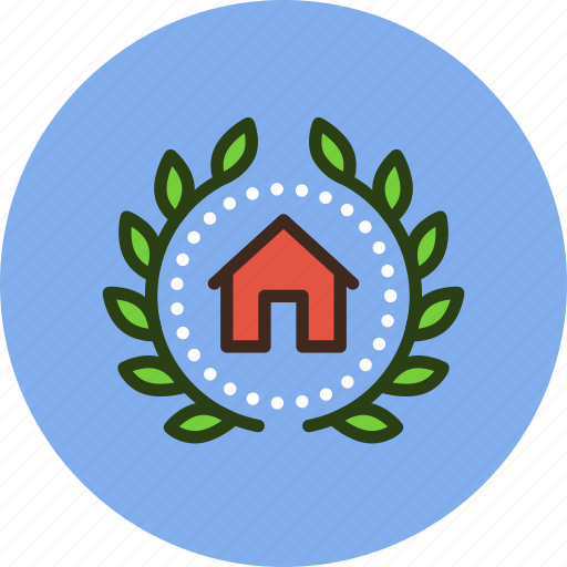 achievement, award, badge, building, construction, home, house, wreath icon