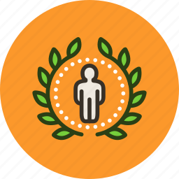 account, achievement, award, badge, rank, top, user, wreath icon
