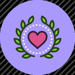 achievement, award, badge, heart, love, valentine, wreath icon