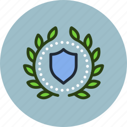 achievement, award, badge, protect, safe, security, shield, wreath icon