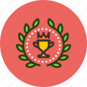 achievement, award, badge, cup, prize, top, win, wreath icon