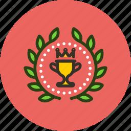 achievement, award, badge, cup, prize, top, win, wreath icon