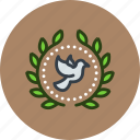 achievement, award, badge, bird, dove, peace, wreath icon