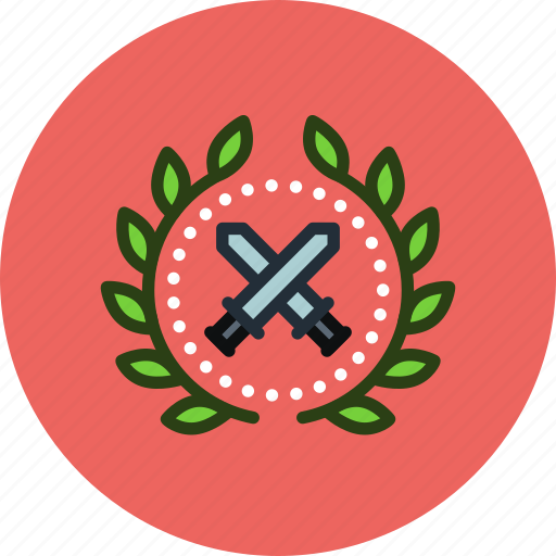 achievement, award, badge, battle, soldier, war, warrior, wreath icon