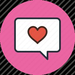 bubble, chat, comment, heart, love, message, talk icon