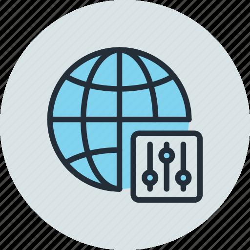globe, internet, network, options, settings, web icon