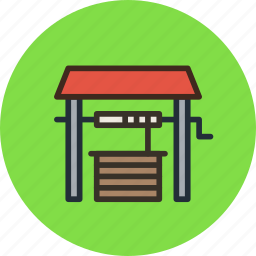 agriculture, farm, village, water, well icon