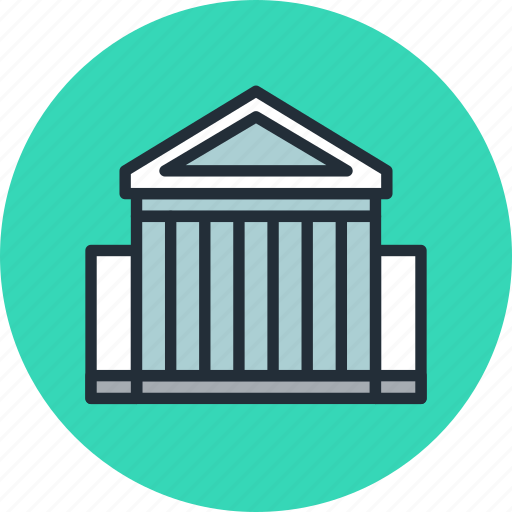 bank, banking, building, business, city, finance, hall icon