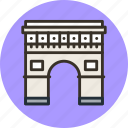 arc, building, gate, paris, triomphe, triumph icon