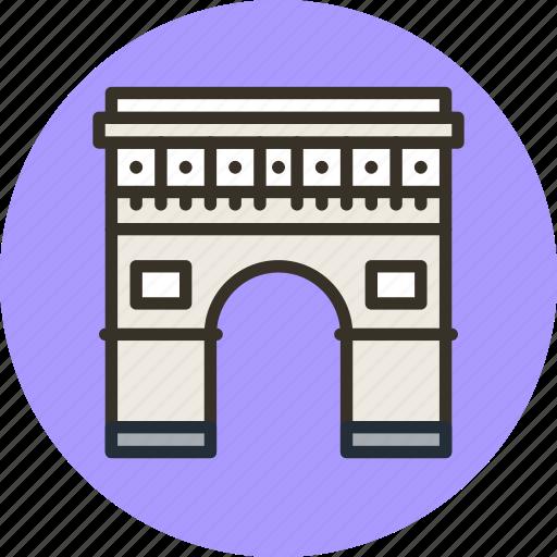 arc, building, gate, paris, triomphe, triumph icon