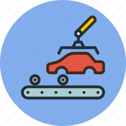 auto, car, factory, industrial, industry, manufacturer, production icon