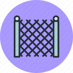 building, fence, garden, metal icon